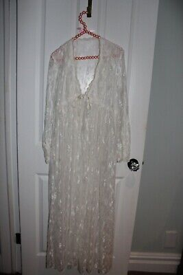 Vintage Lace Robe JONQUIL Diane Samandi for Nieman Marcus Size Large - Jonquil Robe