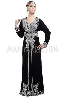 EXCLUSIVE MODERN ABAYA FANCY JILBAB ARABIAN KAFTAN WEDDING GOWN DRESS 6100