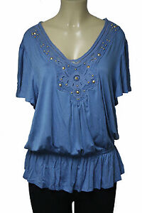 B37 New Dressbarn Blue Studded Crochet Pretty Shirt Top Women Plus Size 1X 14/16