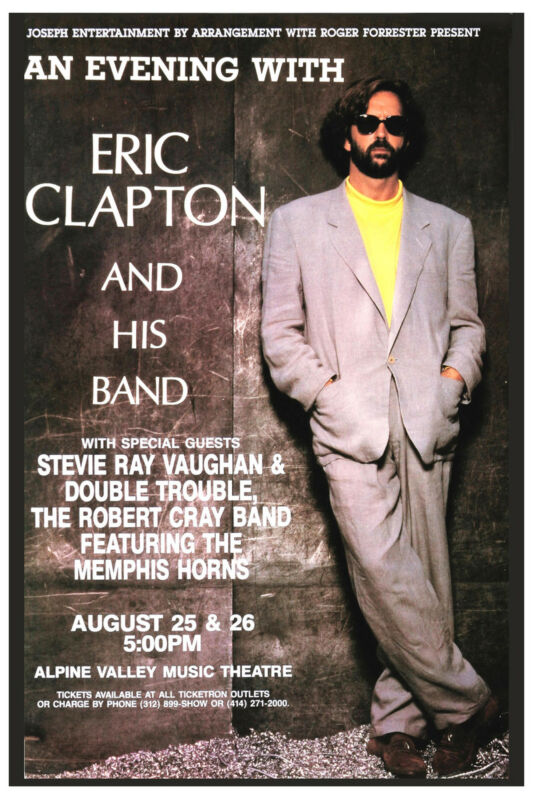 Eric Clapton & Stevie Ray Vaughan Concert Poster 1990  Wide Format  24x36