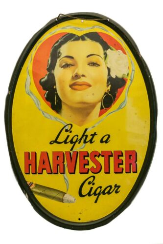 """Rare vintage 1930s """"Harvester"""" tin tobacco display sign in very good condition"""