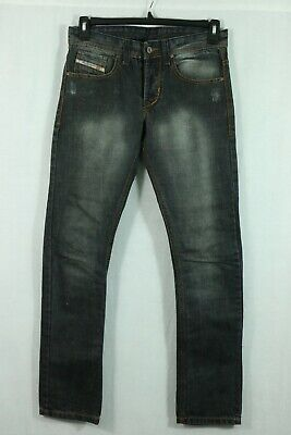 Men's Diesel Jeans 31 x 32 Button Fly Distressed Dark Ink Wash Slim Fit Cotton
