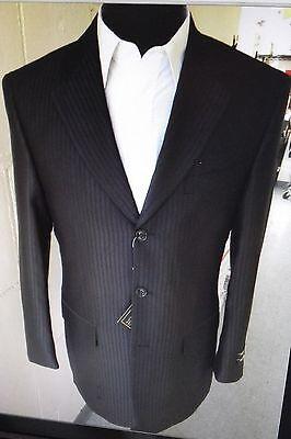 Men's 3 Button Wlool feel Suit Jacket & Pants Black Tone on Tone Stripes 5802-3 3 Button Black Mens Suit