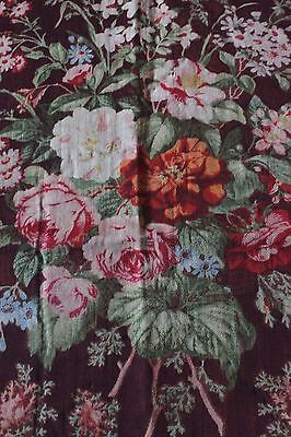 Rare Large Scale French Antique Wool Challis Floral Fabric Textile c1860