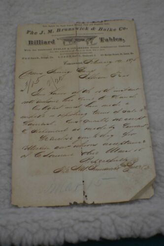 Antique Pool/Billiard/Table/Brunswick J M Brunswick Letterhead 1875 Rare!!!