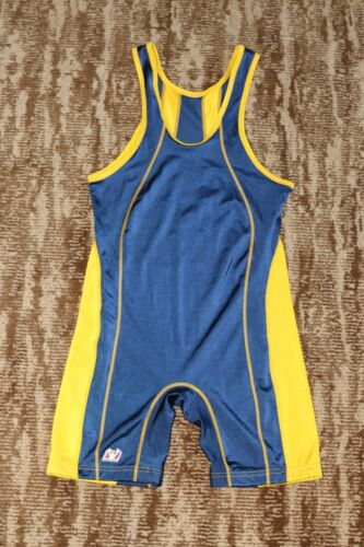 BRUTE Wrestling Singlet Adult Large Jersey tournament Gear made in USA blue/yel