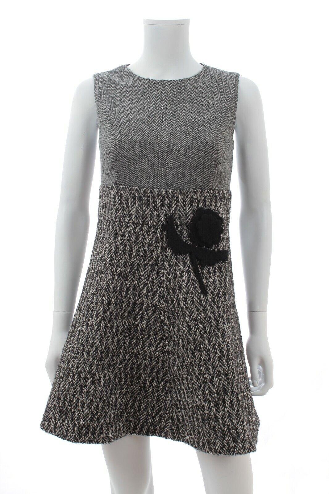 Rouge valentino à chevrons et tweed mini robe / noir,blanc,gris