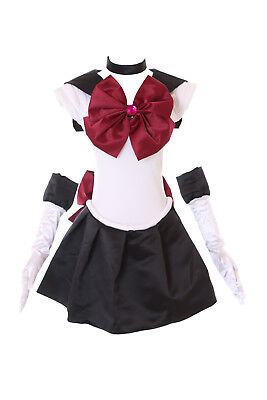 H-6007 Crystal Pluto Setsuna Sailor Moon schwarz weiß Cosplay Kostüm Kleid Set