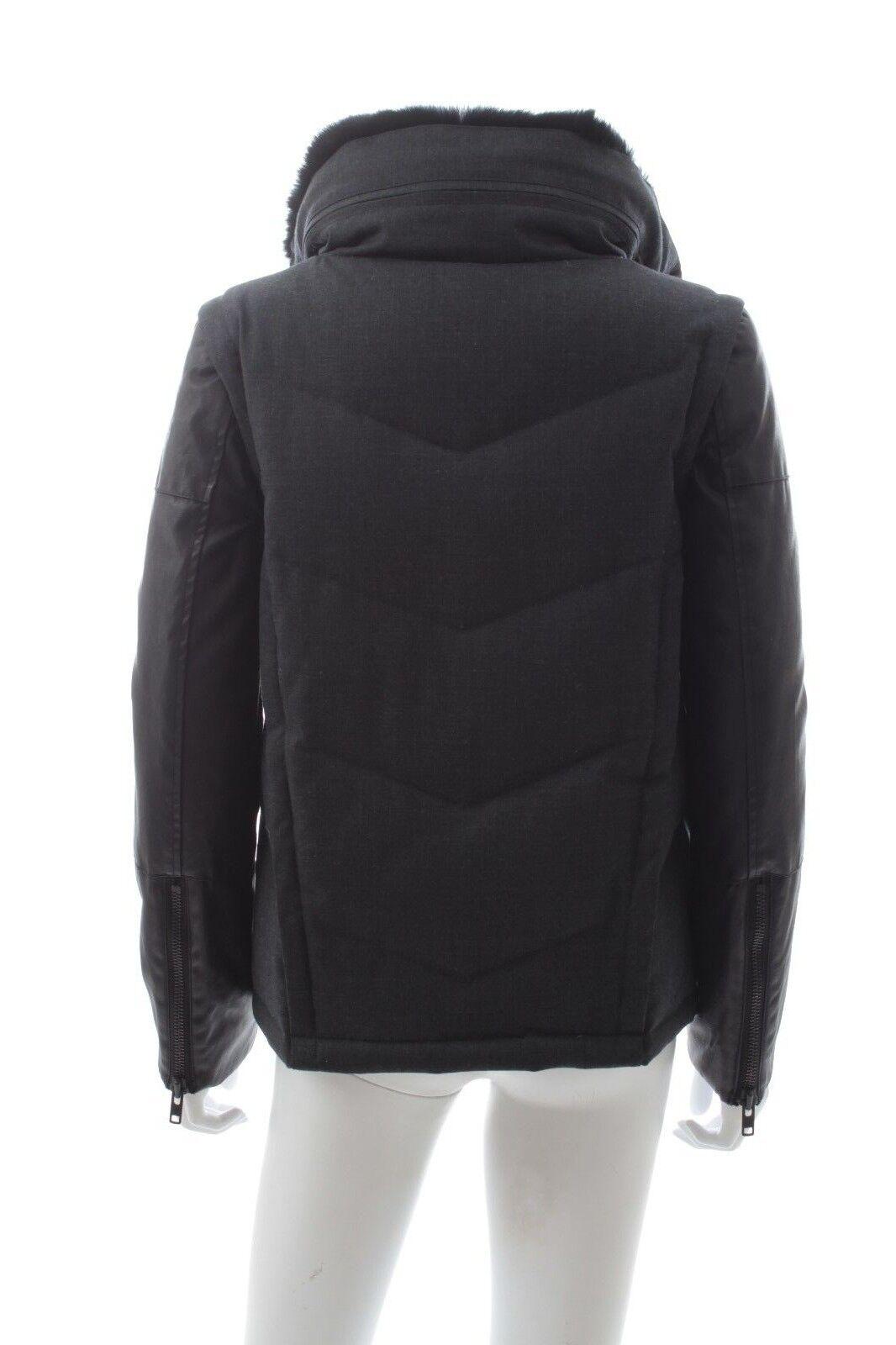 The kooples bas manteau avec détachable manches et col fourrure / gris foncé