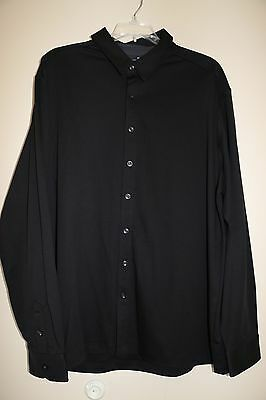 Murano Mens Wardrobe Essentials Button Front Shirt   Xl   Black