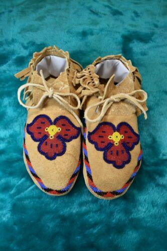 Native American Beaded Moccasins, Flower? Motif