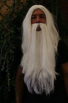 Perücke & Bart Set: Zauberer Gandalf Dumbledore Wizard weiß Eremit Hexer PW0210