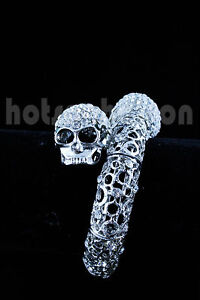 Smoky Silver/Gold Slim Carved Double Skull Head Crystal Bangle
