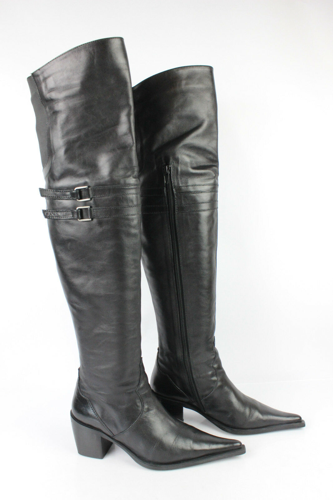 Bottes genoux cuissardes semog cuir noir t 36 tbe