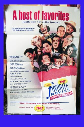 OUR FAVORITE MOVIES 1992 TNT Summer Fest colour poster Pre TCM promo Ships Free