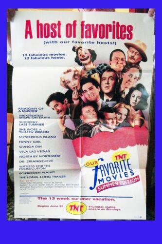 OUR FAVORITE MOVIES 1992 TNT Summer Fest colour poster Pre TCM promo Ships Free