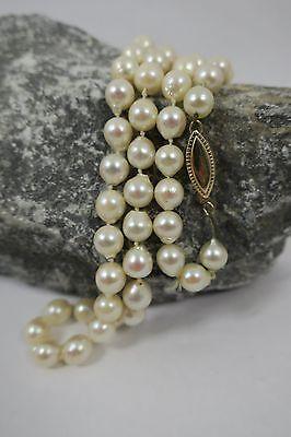 Vintage Perlenkette 585 / 14 Karat Gold Verschluss 52 Perlen Ø 0,7cm Kette 48cm