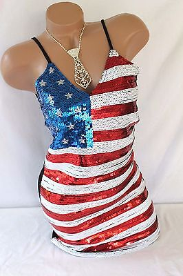 Patriotic Dress Womens (USA American Flag Women's Dress Sequin Dress Tank Mini Tunic PATRIOTIC Bling)