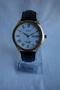 ALBA Analog, Date & Day Watch in White Dial Roman Numerals-5 Bar Water Resistant