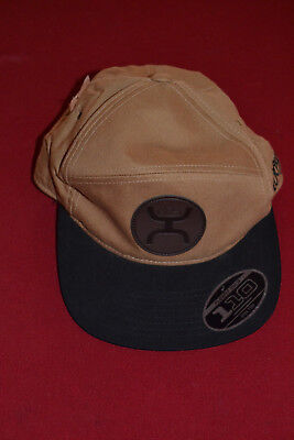 6713b3a222f4b Hooey Adjustible Flat Bill Cap Hat Tan Brown   Black Rodeo Cowboy NWT