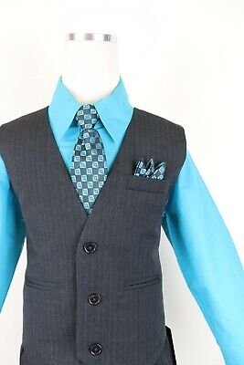 turquoise teal blue boys pinstripe vest 4 piece set formal suit easter all size](Pinstripe Vest)