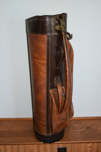 Vintage Fairway By Leeds Brown leather Golf Bag USA Made