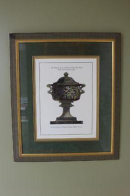 Large Framed Piranesi Harvest Urn Blue, A Hand Colored Etching print open - Harvest Urn