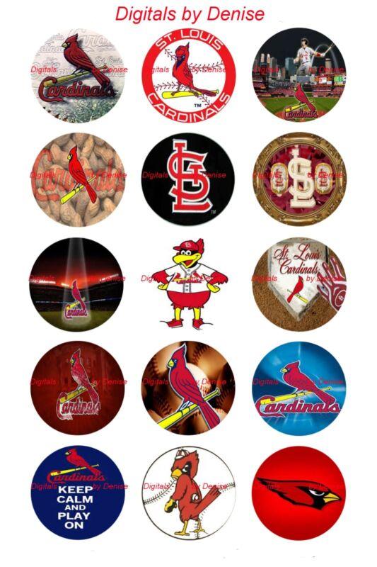 "ST. LOUIS CARDINALS 1"" CIRCLES  BOTTLE CAP IMAGES. $2.45-$5.50  *FREE SHIPPING*"