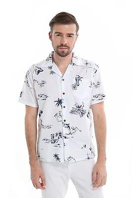 Hula Flamingo - Men 100% Cotton Aloha Hawaiian Shirt White Navy Map Fish Flamingo Hula