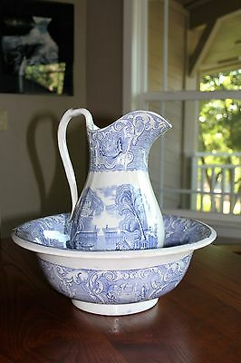 Antique Staffordshire Blue & White Transferware PITCHER AND BOWL