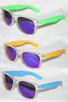 Retro Sonnenbrille transparent clear neon 80er Jahre silber blau verspiegelt 641