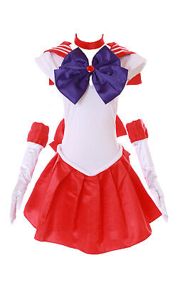 H-6001 Crystal Mars Rei Sailor Moon rot Weiß Cosplay Kostüm Kleid Set costume