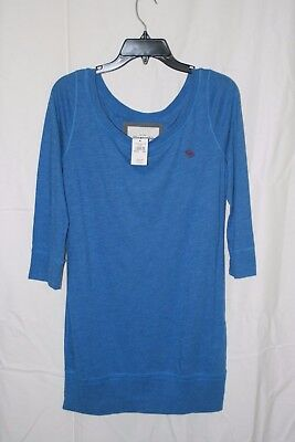 Abercrombie & Fitch Womens Blue Long Sleeve Top Sz L ~ NWT