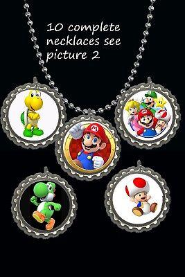 Mario party theme Bottle Cap Necklaces party favors lot of 10 Mario brothers bro - Mario Bros Party Theme