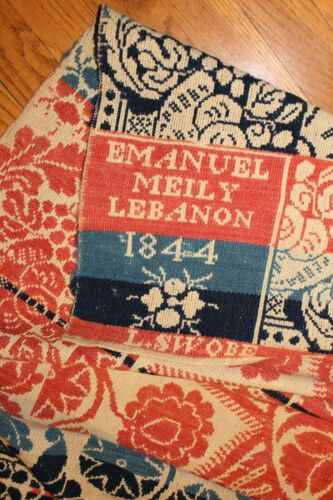 Museum Worthy Antique Coverlet Lebanon Ohio Emanuel Meily 1844