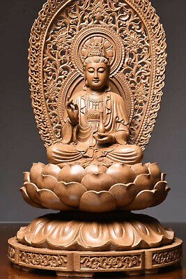 Fine Chinese coral hand carved  Kwan-yin statue Smiling Buddha statue E2615