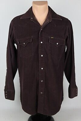 1970s Men's Shirt Styles – Vintage 70s Shirts for Guys Vintage 1970's Lee Mens M Brown Corduroy Pearl Snap Western Shirt Union Made USA $55.21 AT vintagedancer.com