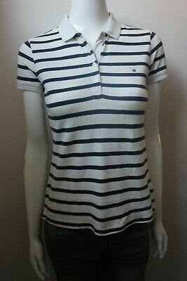 GANT Women White & Navy Stripe Cotton Pique POLO Shirt Top Tee T shirt 6 to 20