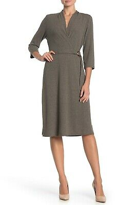W WRAPPER NORDSTROM Ribbed Faux Wrap Dress OLIVE SIZE L