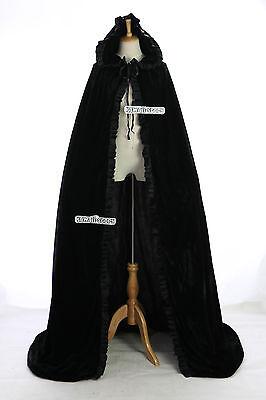 Cape-02 schwarz black Samt bodenlag Umhang Gewand Mittelalter Gothic Vampir