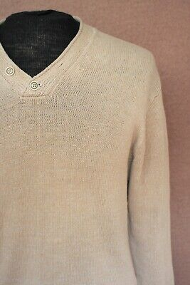 Inis Meain Linen Beige Brown Fisherman Shawl Sweater Ireland M Medium Oatmeal