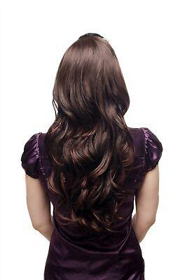 Haarteil Halbperücke Haarverlängerung lang wellig Kämme Braun Mix - Perücke Kämmen