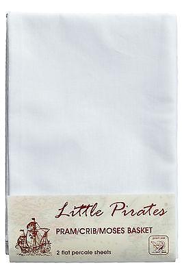 2 x Baby Pram/Crib/ Moses Basket  Flat Sheet 100% Cotton White