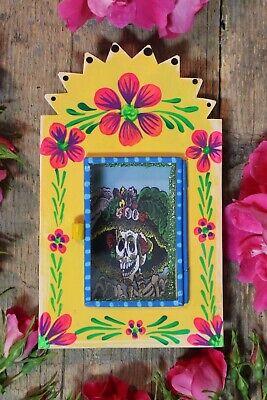 Day of the Dead Catrina Handmade & Painted Tin Reliquary Retablo Mexico Folk Art