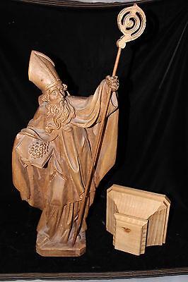 Christentum Holzfigur 60cm Heiliger mit Buch Trauben Stab + Sockel geschnitzt