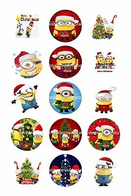 Minions Christmas 1  Circles  Bottle Cap Images   2 45  5 50 Free Shipping