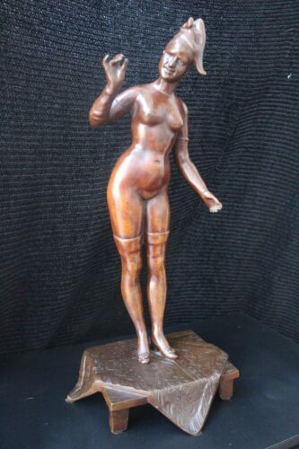 """LARGE 18"""" TALL RARE VICTORIAN BRONZE NAUGHTY NUDE WITH REMOVABLE DRESS"""