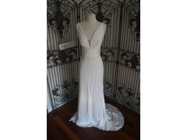 V1007 PALOMA BLANCA 4603 SZ 12 NATURAL $2775 #2712V305 FORMAL WEDDING DRESS GOWN