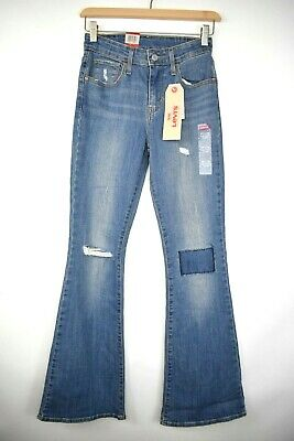 Levis Women's High Rise Flare Jeans 25 x 32 Boho Distressed Patch Light Wash High Rise Flare Jeans