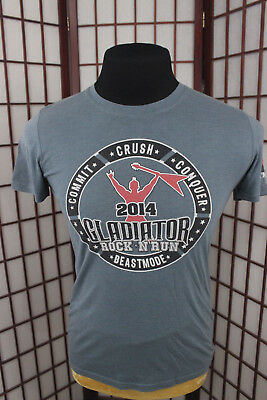 Hylete Gladiator Rock N Run 2014 T Shirt Sz Small Gray Fitness Beastmode Fit